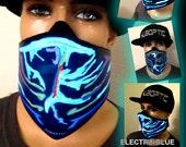 Electro Blue Rave Mask - Light Up Bandana Mask Robot Mask LED Sound Reactive for Cyborg masquerade edc gigs tron Glow subzero Hero Villain