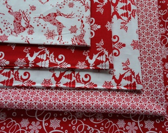 Christmas Fabric, Winter Essentials 3, Reindeer and Snowflakes, Red and White - Fat Quarter Bundle - 5 Fat Quarters - Cotton Sewing Material