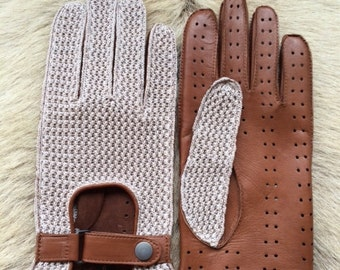 Men's Driving Leather Gloves Crochet Top Leather Palm