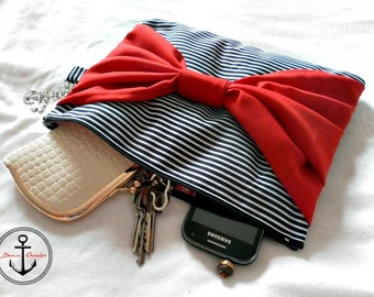 Sailor navy clutch hand bag