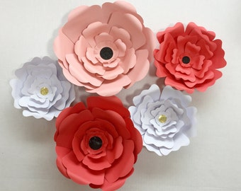 3 Sizes of Paper Wall Flowers