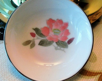 Vintage Chinese Pink Pastel Rose Dish - Flower Motif - Underglaze - Made in China - Excellent Condition!!