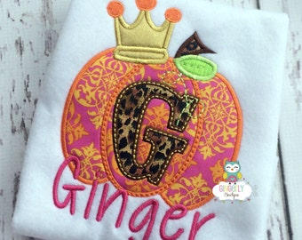 Orange/Pink Damask and Leopard Print Princess Pumpkin Shirt or Bodysuit, Girl Pumpkin Shirt, Pumpkin Shirt, Fall shirt, Pumpkin Patch Shirt