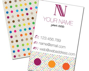 Business Card Calling Card Personalized Printable Polka Dots
