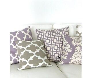 1 pillowcase GIGI graphic pattern lilac vanilla 40 x 40 cm