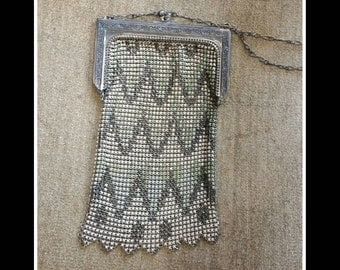 Art Deco Antique Whiting and Davis enamel mesh metal purse bag
