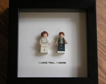 LEGO I love you I know Star Wars Princess Leia & Han Solo - Star Wars Framed Art - LEGO Minifigure Display - Wedding Gift - LEGO Framed Art