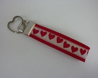 "Key fob ""Glitter-heart"" in red"