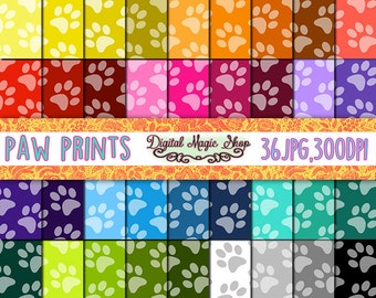 Paw Print Digital Paper, Multicolor, Seamless Patterns- 36pcs 300dpi, (paper crafts, card making, scrapbooking) Commercial use