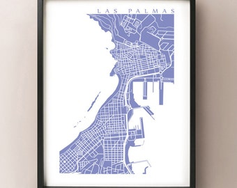 Las Palmas de Gran Canaria Map - Isleta Canary Islands Spain Art Print