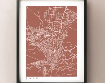 Jaen Map - Jaén, Spain Art Print