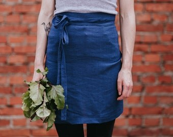 Navy Blue Apron Stone Washed Baltic Linen Cafe Apron With Pockets