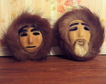 Leather & Fur Miniature Eskimo Masks  17085