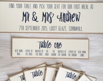 Wedding table plan cards - wedding seating chart cards - individual table plan cards