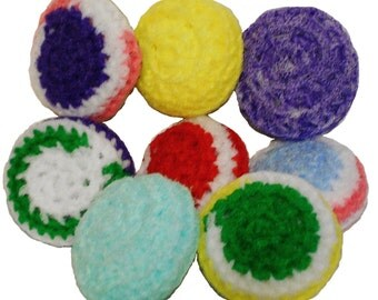 Scrubbies - 8 Awesome Handmade Dish Scrubbers Crocheted Nylon Netting. Photo is a Sampling of Colors of Which You Will Receive Eight (8).