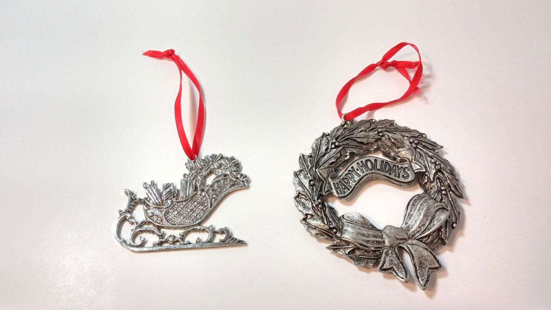 Vintage metal christmas ornaments wreath sled by vintageyay