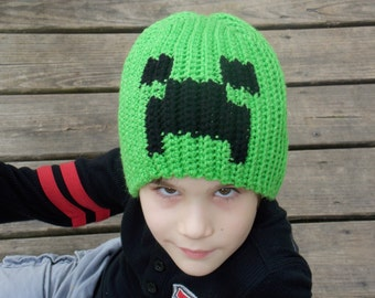 Green and Black Pixeled Creature Creeper Minecraft Hat Beanie Stocking Cap Costume