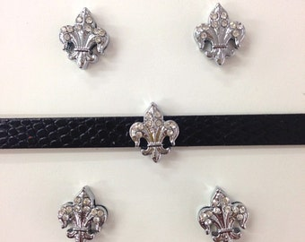 Set of 10 pc silver rhinestone  fleur de lis / football saints slide charm fits 8mm wristband for jewelry /crafting
