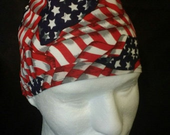 American Flag Old Glory Stars and Stripes 4th of July Tie Back Surgical Scrub Hat
