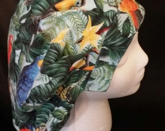 Rainforest Bird Bouffant Surgical Scrub Hat With Banded Front & Toggle Back