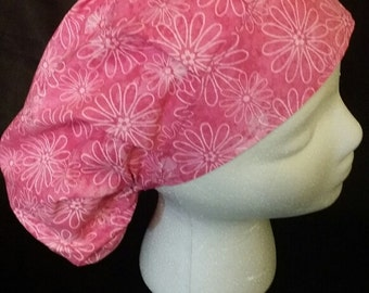 Batik Pink Flowers Bouffant Style Surgical Scrub Hat