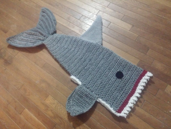 Free Pattern Crochet Shark Blanket : Crochet Shark Blanket Cocoon wrap snuggie by ...