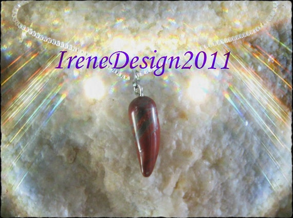 Handmade Silver 925 Necklace with Jaspis Horn by IreneDesign2011