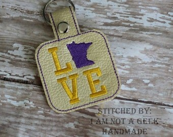 Minnestoa LOVE  - In The Hoop - Snap/Rivet Key Fob - DIGITAL Embroidery Design