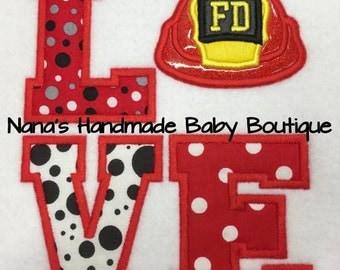 LOVE Fireman - Firehat - Fire Helmet Applique 5 x 7 and 6 x 10 Embroidery Design -   DIGITAL Embroidery DESIGN