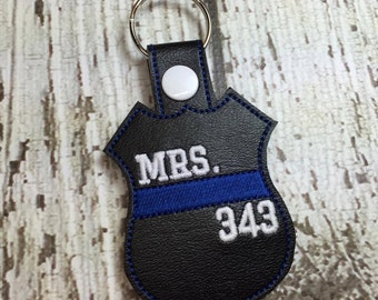 Mrs. Thin Blue Line Badge - Sheriff - Deputy - Police - Law Enforcement - In The Hoop - Snap/Rivet Key Fob - DIGITAL Embroidery Design