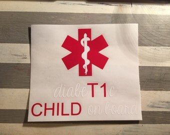 DiabeT1c Child on board Car Decal ** SHIPPING INCLUDED**