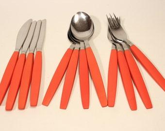 Orange Bakelite flatware cutlery spoon fork knife Sweden