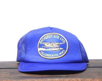 Vintage Bathurst Air Yellowknife Northwest Territories Canada Pontoon Plane Trucker Hat Snapback Baseball Cap Patch