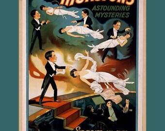 "11 X 14""  canvas art print~    One of Thurston's Astounding Mysteries - Vintage Magic"