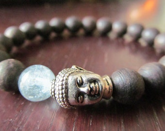 Agarwood and Aquamarine Buddha Bracelet for Women or Men, Wrist Mala, Yoga Bracelet, Yoga Jewelry, Meditation Bracelet, Wood Bracelet