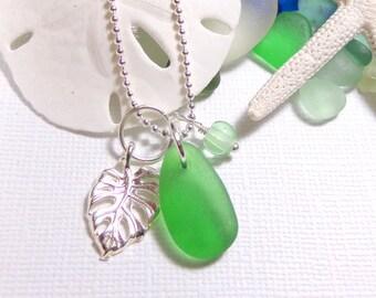 Sea Glass Necklace Genuine Beach Glass Monstera Leaf
