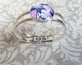 colorado columbine silver and glass photo art quick release bracelet