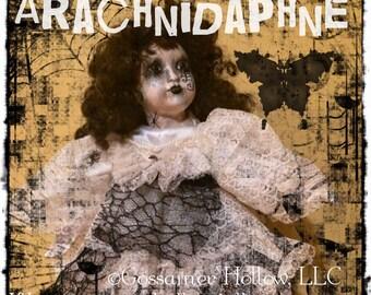 ArachniDaphne-OOAK Goth Spider Web Halloween Creepy Horror Punk Art Doll
