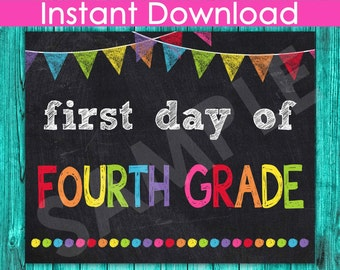 First Day of Fourth Grade Sign INSTANT DOWNLOAD, 1st Day of School Chalkboard Sign Printable Photo Prop, 4th Back to School 8x10 Boy Girl