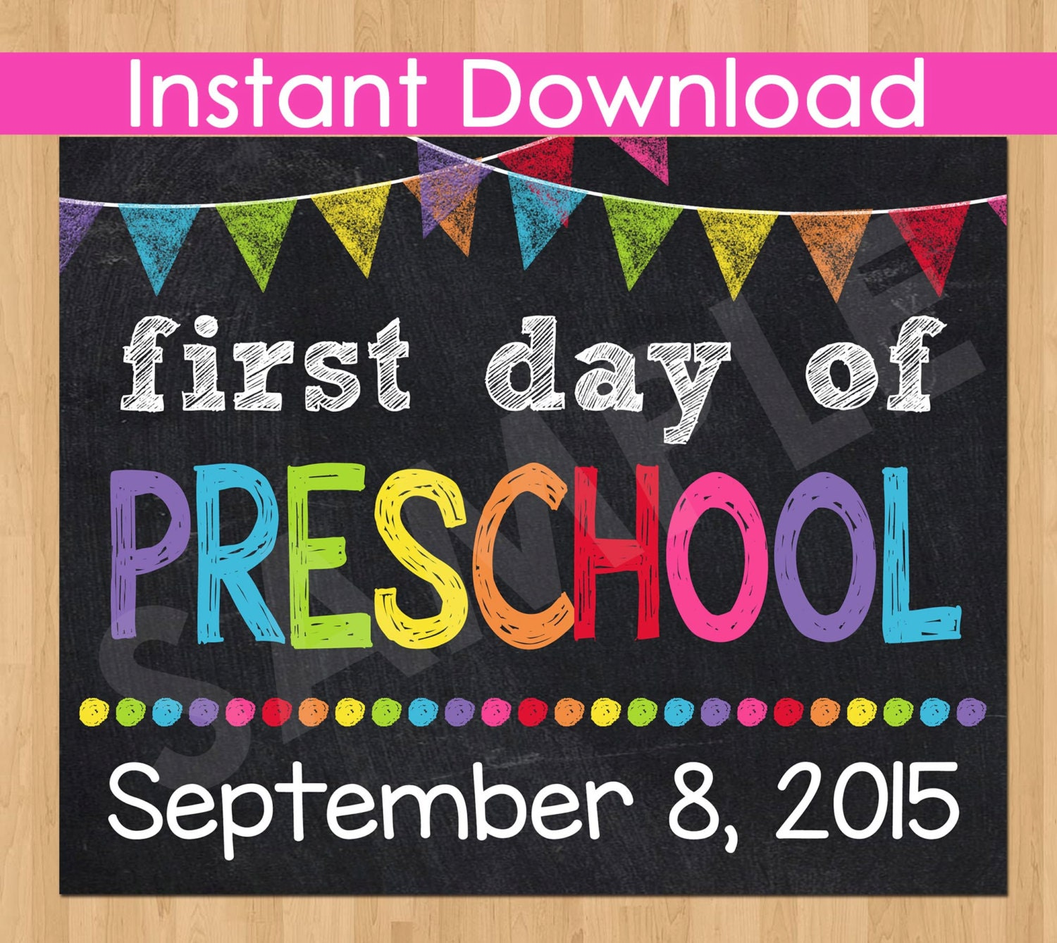 It is a graphic of Amazing First Day of Preschool Printable Sign
