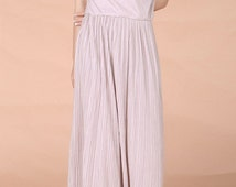 Long dress/ Maxi dress/ soft spandex cotton jersey/summer dress/elastic dress/beach dress/short sleeve/drawing cord/pleated dress