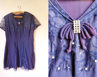 vintage purple lace dress with pearls and crystals