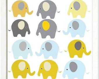 Elephant Nursery Art Print Yellow Grey Gray Blue Nursery Decor Baby Wall Art Elephant Nursery Art