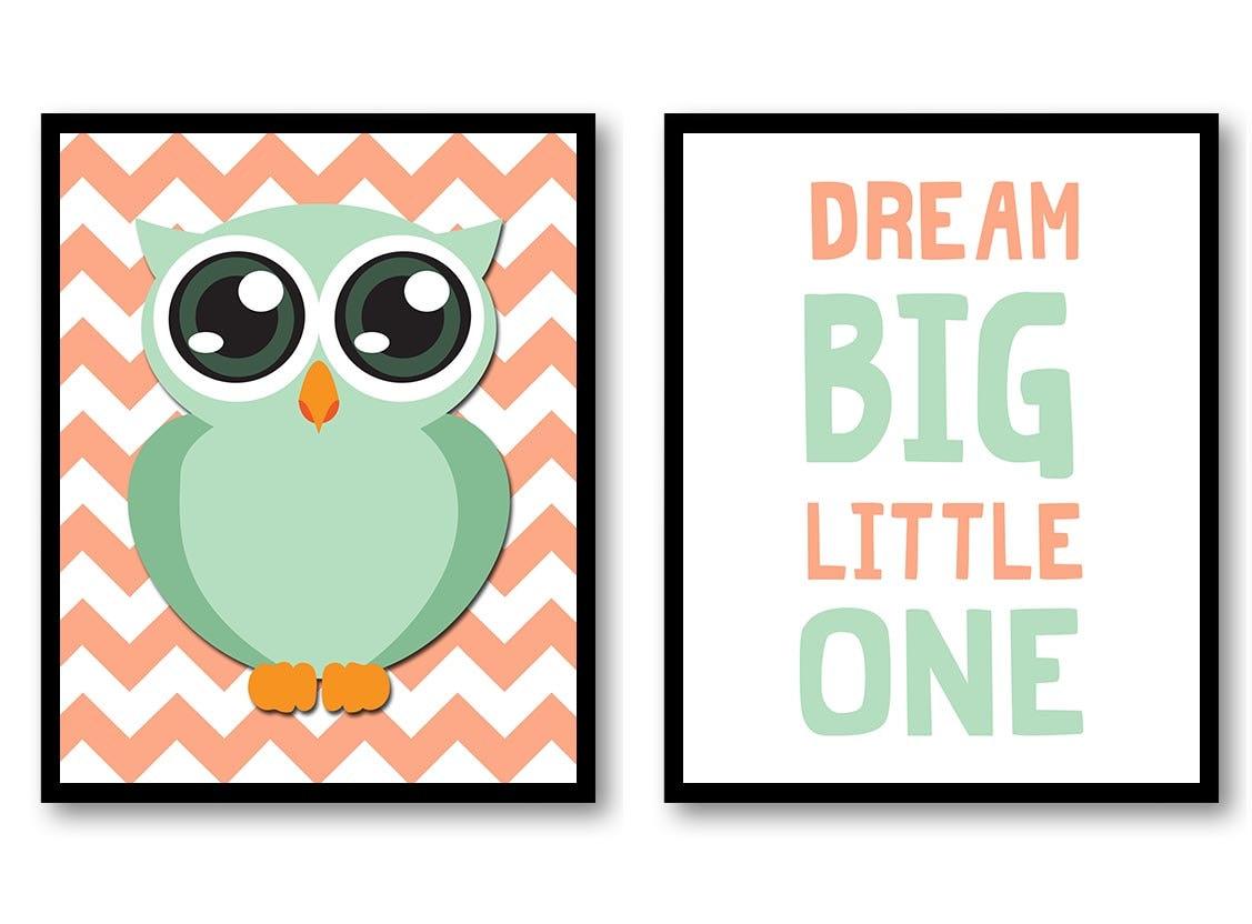 Owls Orange and Green Owl Nursery Art Nursery Print Set of 2 Baby Art Green Border Print Wall Art Nu
