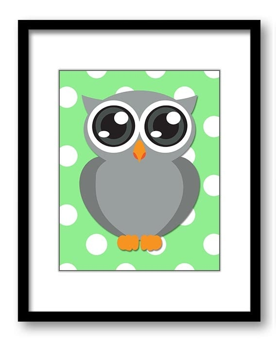 Owl Nursery Art Nursery Print Grey Owl Lime Green Polka Dots Baby Art Baby Animal Pink Print Child K
