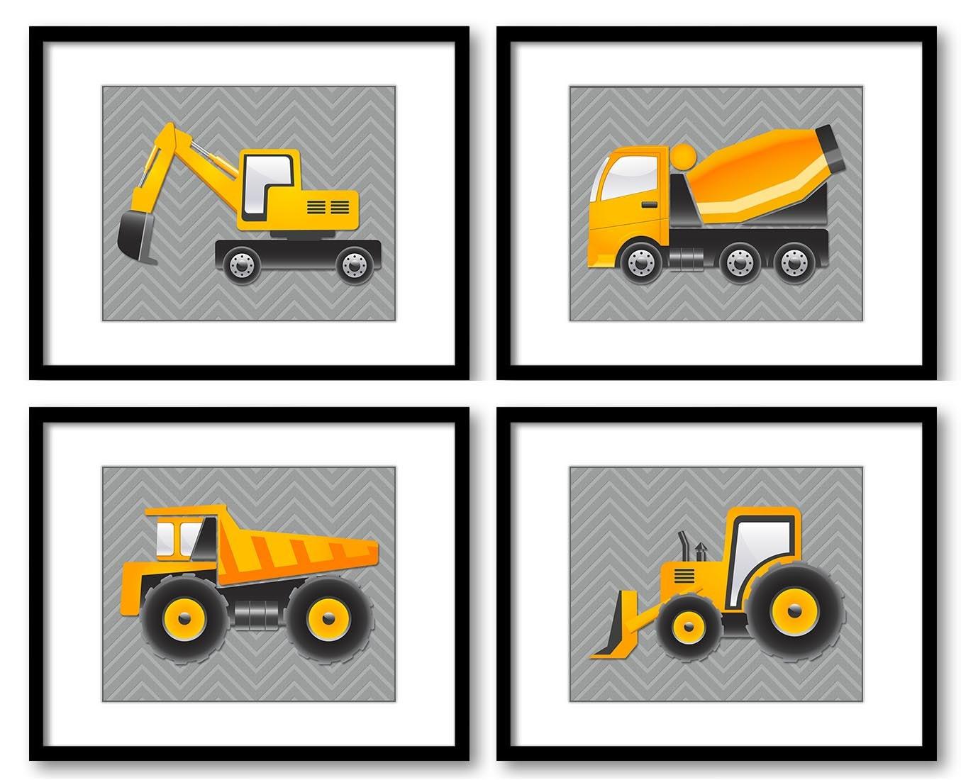 Grey Yellow Transportation Construction Vehicles Heavy Machinery Kid Children Set of 4 Prints Boy Nu
