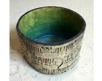 Handmade Ceramic Pencil or Pen Pot with Punctuation Imprints