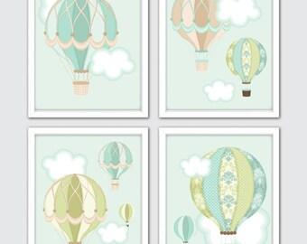 Hot Air Balloon Nursery, Travel Theme Nursery, Baby Boy Nursery Set Of 4, Hot Air Balloon Art, Explorer Nursery Art, Wallpaper Baby Room