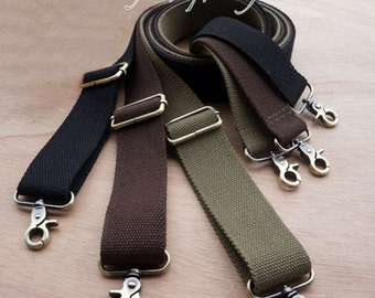 1Pc 100-160cm length 38mm width Adjustable Cotton webbing Canvas Webbing Strap for Shoulder tote clutch coin bag purse Brushed Brass Buckle