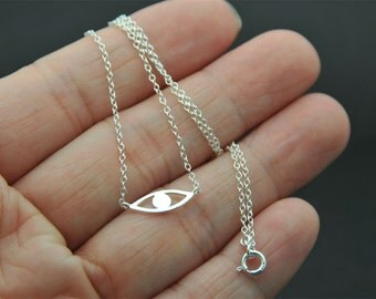 All Sterling silver Evil Eye necklace, Protection necklace, layered necklace, Evil Eye Jewelry, celebrity inspired jewelry